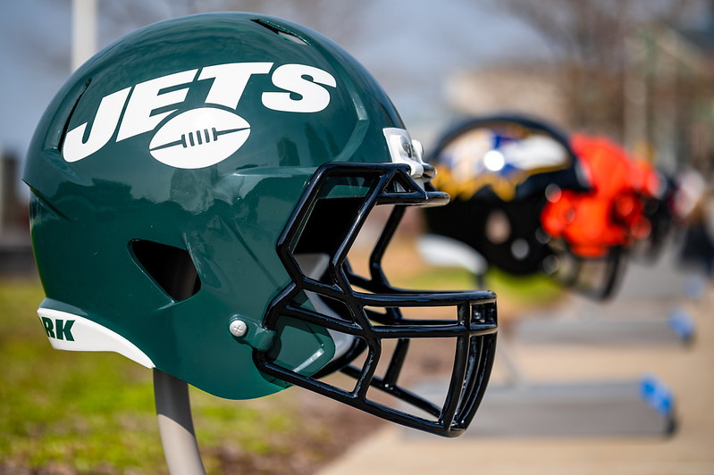 A gigantic New York Jets helmet on display outside at the NFL Draft experience in Cleveland, Ohio.