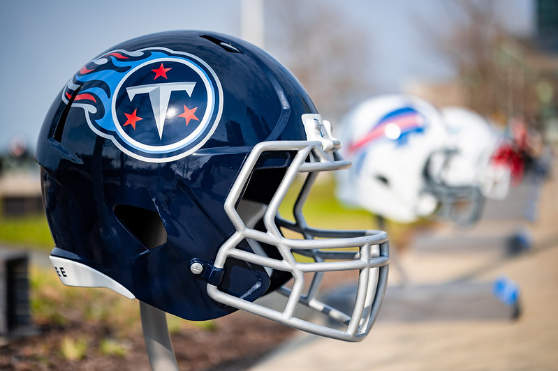 A Tennessee Titans helmet on display outside at the NFL Draft Experience in Cleveland, Ohio.