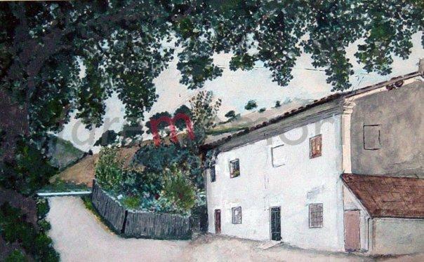 La casa natale di don Edo, in un suo dipinto (raccolta Famiglia Antonio Terenzi e Rina Corsini, Pesaro)