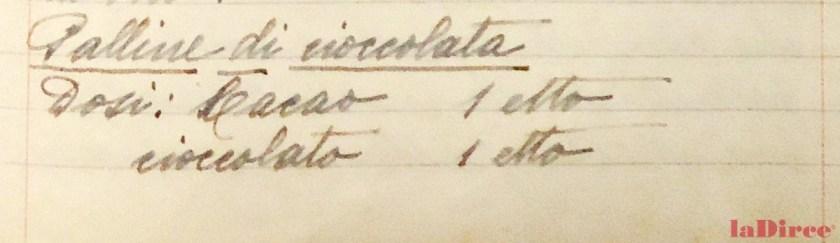 """Dal """"Quaderno di ricette gastronomiche"""" di Luisa Carnevali Spada (Archivio Concetta Mattucci, Pesaro): """"Palline di cioccolata"""""""
