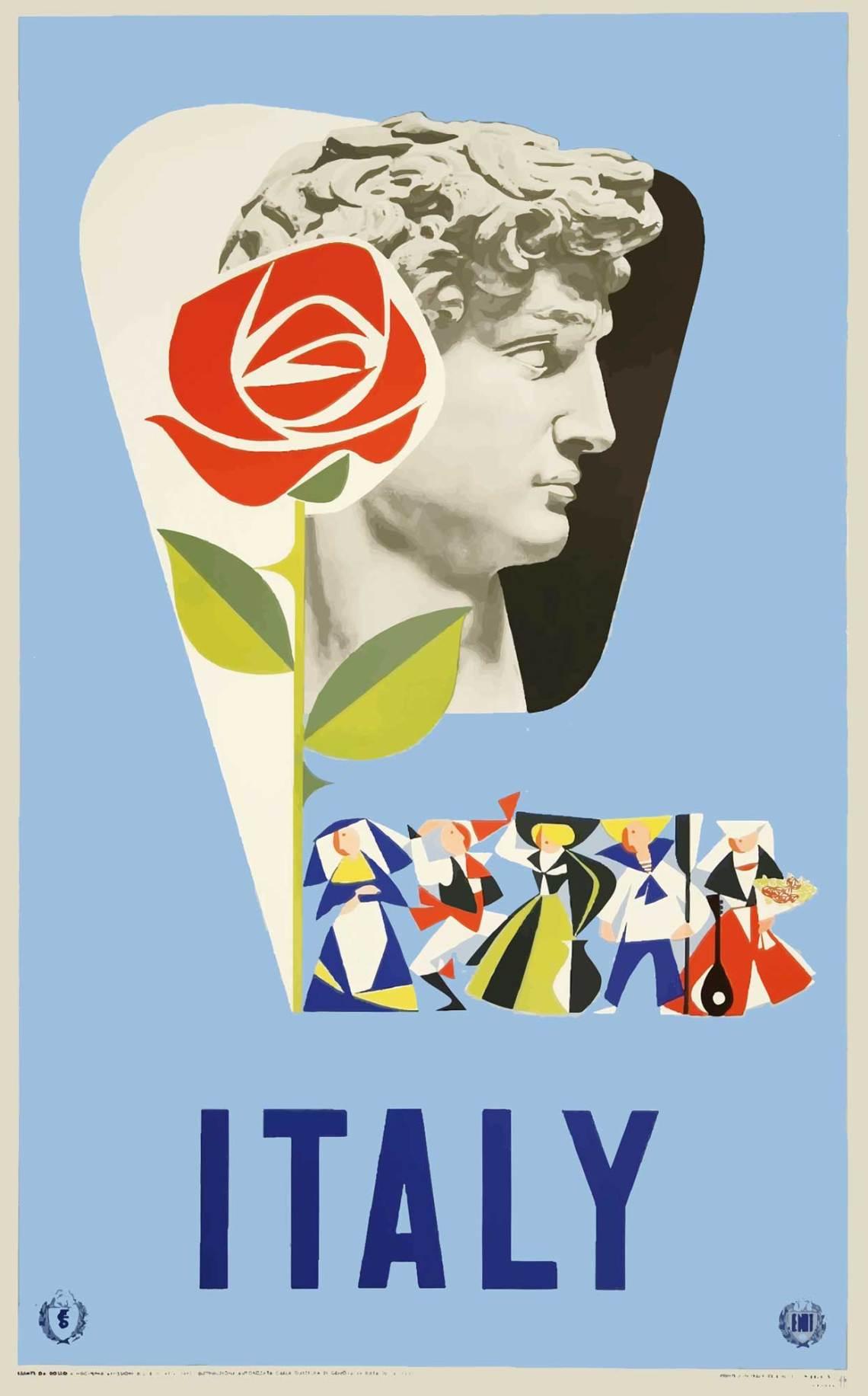 Italy, manifesto di Mino Delle Site per ENIT - 1955