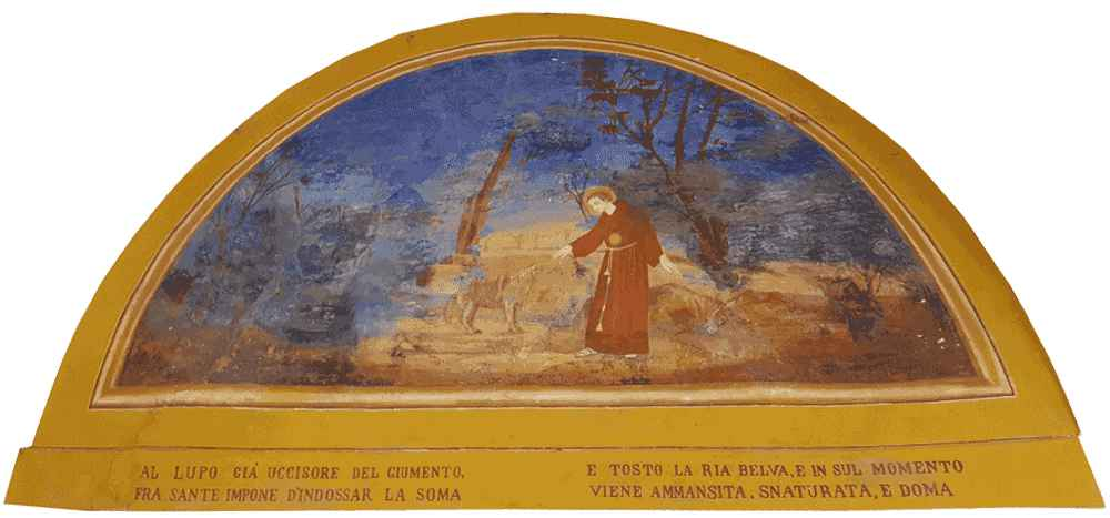 Mombaroccio (PU), Convento del Beato Sante. Il Beato Sante ammansisce il lupo, lunetta