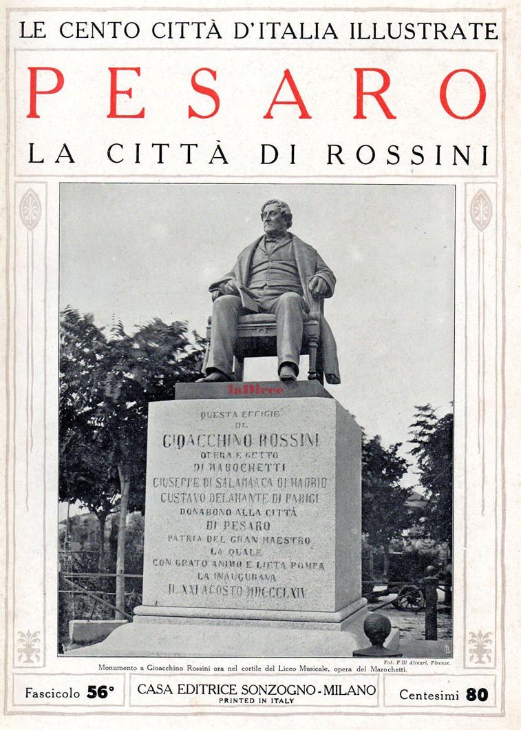 """Il monumento a Gioachino Rossini sulla copertina de """"Le cento città"""", Pesaro (1924-1929)"""