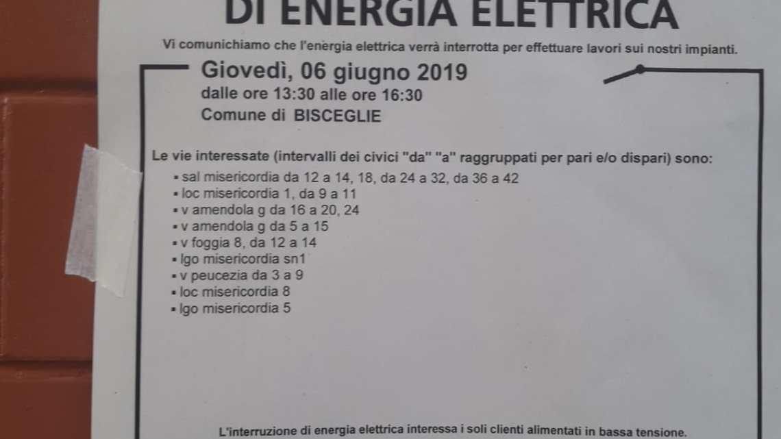 Ancora interruzioni di energia elettrica, giovedì toccherà zona Misericordia e Tre Pompe