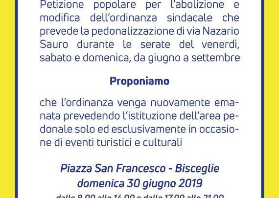 La Lega di Bisceglie contro la zona pedonale di via Nazario Sauro, lanciata raccolta firme