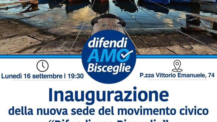 DifendiAMO Bisceglie, inaugurazione nuova sede del movimento civico-culturale in Piazza Vittorio Emanuele