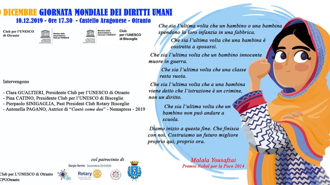 10 dicembre, Club per l'Unesco alla Giornata dei Diritti Umani