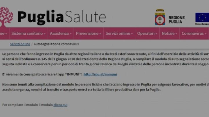 Fase 2: rientri, in tilt sito Regione Puglia per autosegnalazione