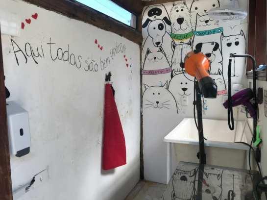 Sala de banho para pets na pousada (foto Andrea Miramontes / Lado B Viagem)