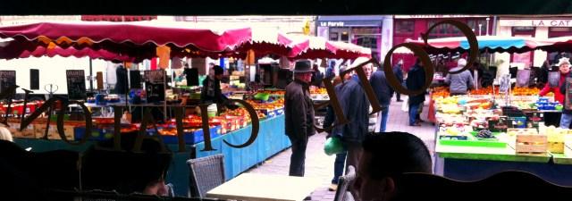 Market in Chalon, looking out from Le Verre Galant.