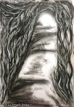 ~ Adrift , darkly ~ Fusain et pastel sec/Charcoal and soft pastel