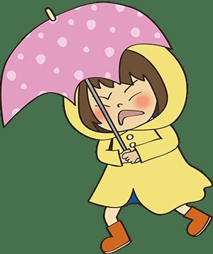 雨に立ち向かう