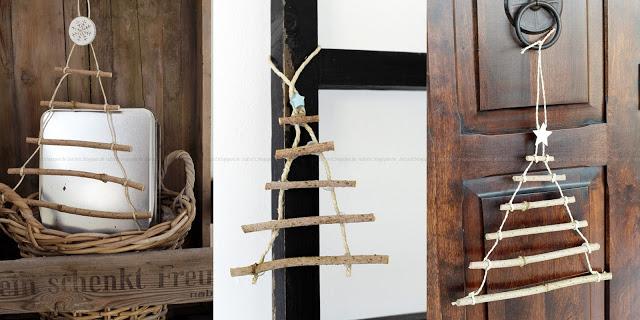 Mehrere Dekorationsbeispiele zu DIY Weihnachtsbaum aus Ästen