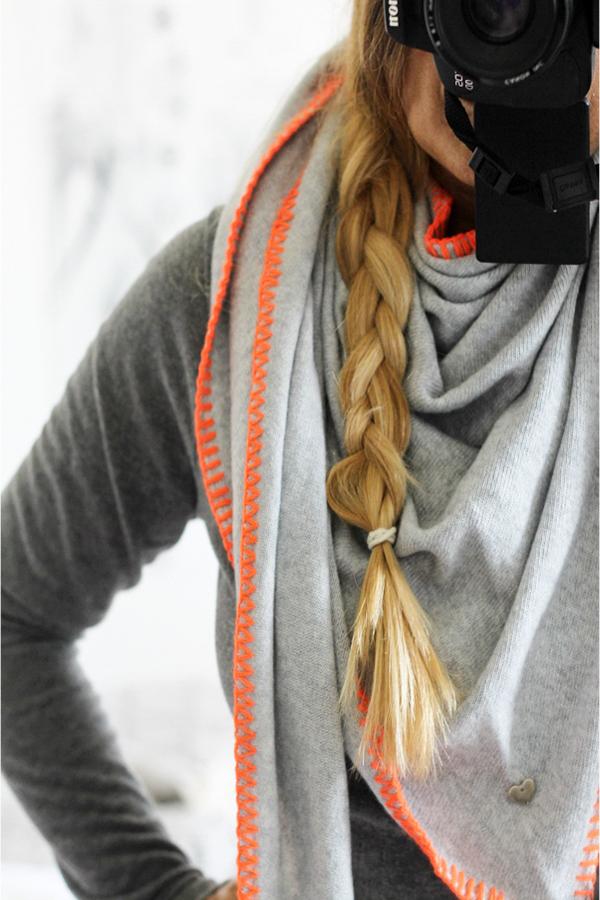 Herbst Accessoire Dreieckstuch grau orange