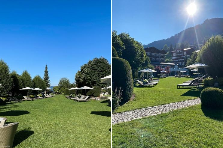 Familienhotel Hotel Oberforsthof St. Johann im Pongau Österreich Badeteich mit Garten