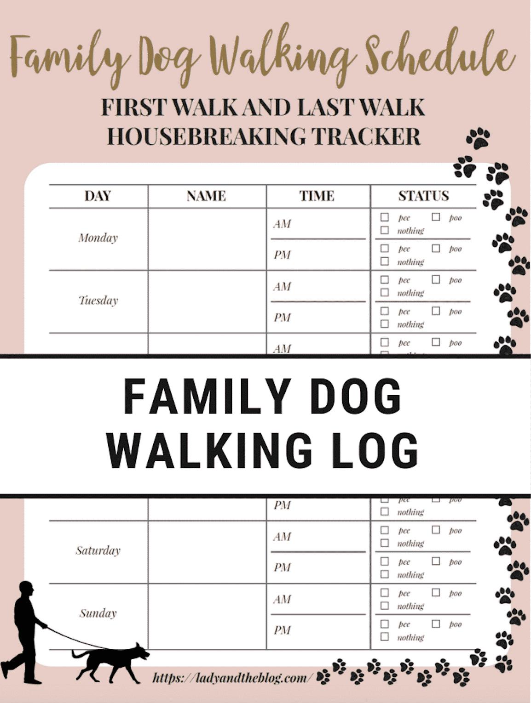 Free Printable Walking The Dog Log