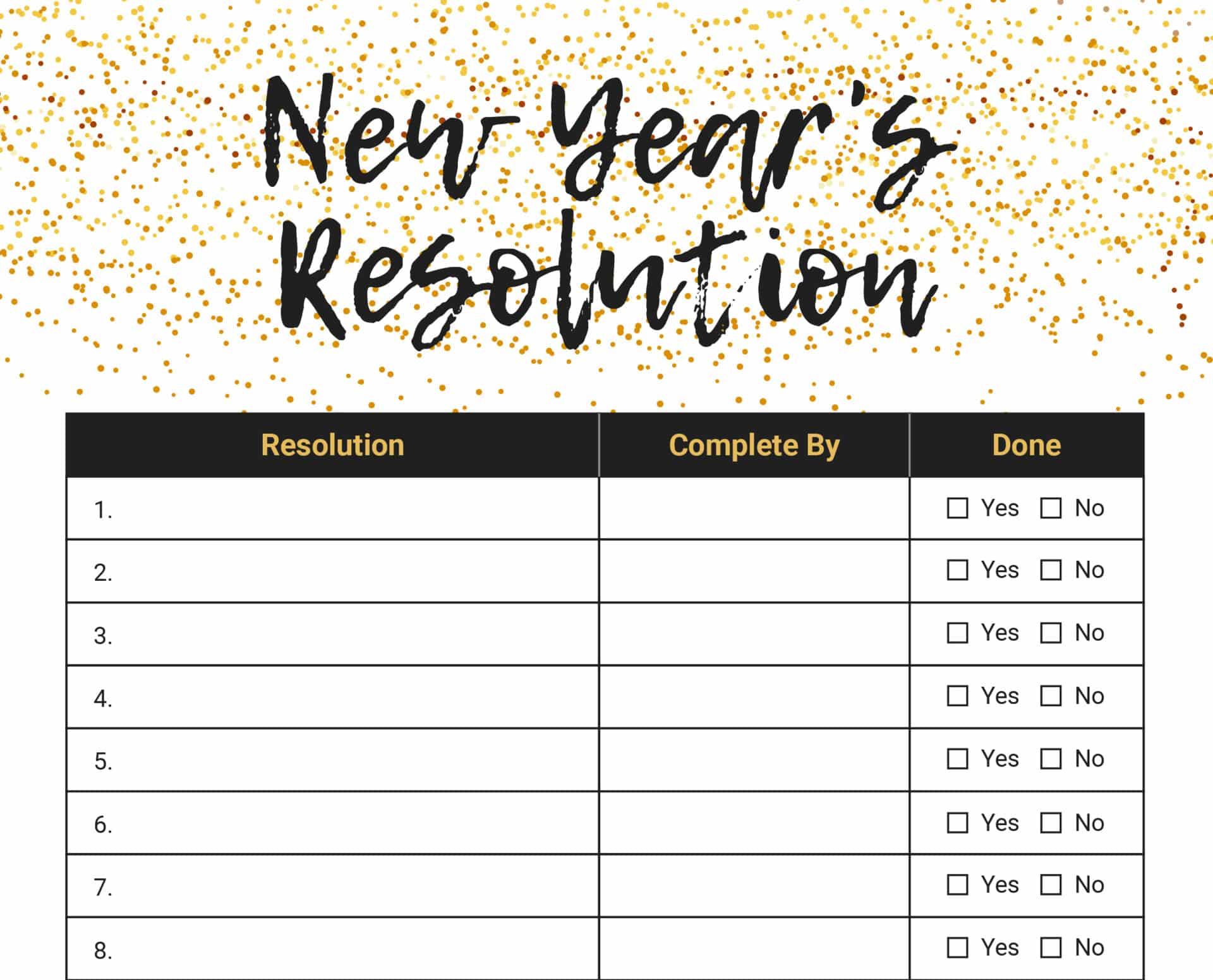 New Year S Resolution List