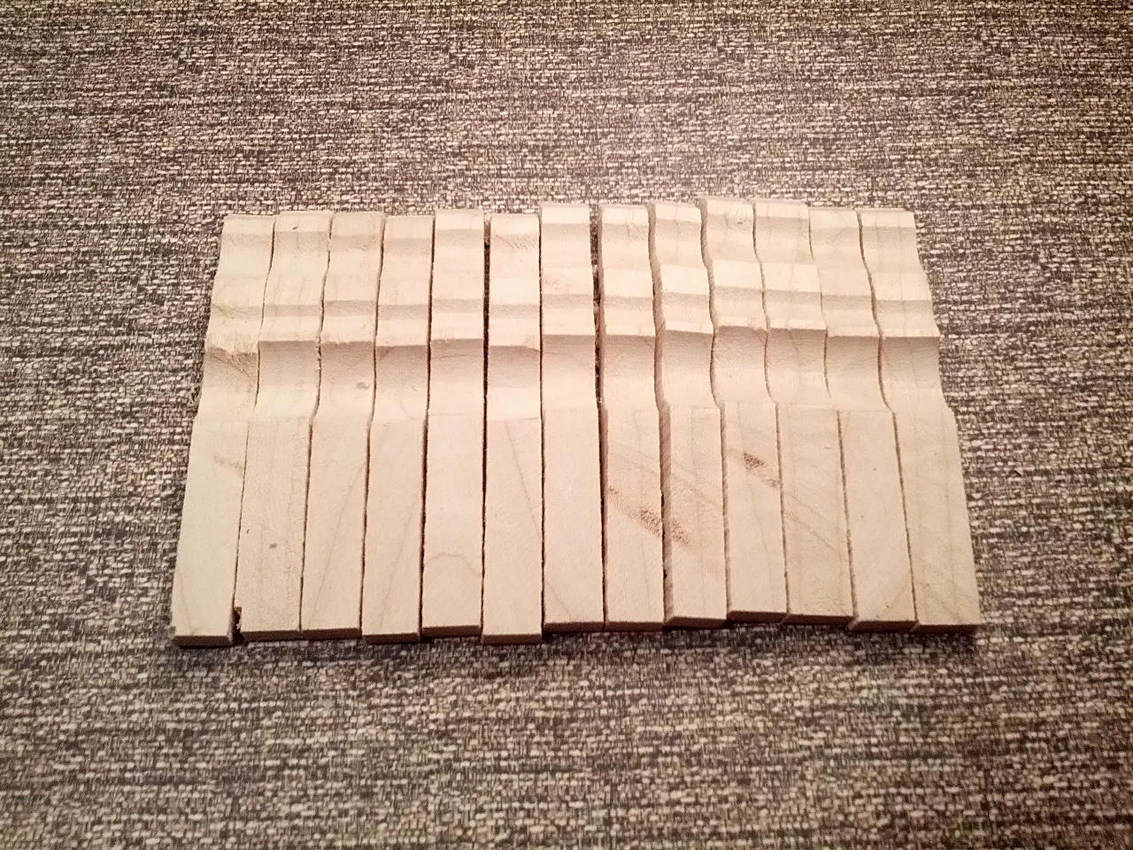 clothespin halves cut from blank