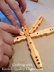 Assembling Clothespin Craft Snowflake