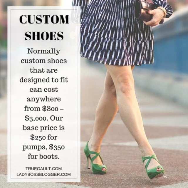 Female entrepreneur lady boss blogger Sandra Gault custom high heel shoes