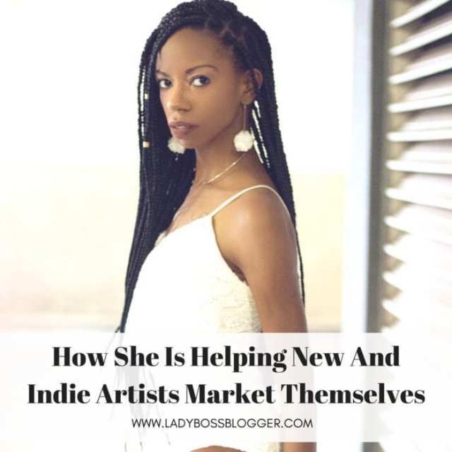 Female entrepreneur lady boss blogger Alexcina Brown marketer for indie artists