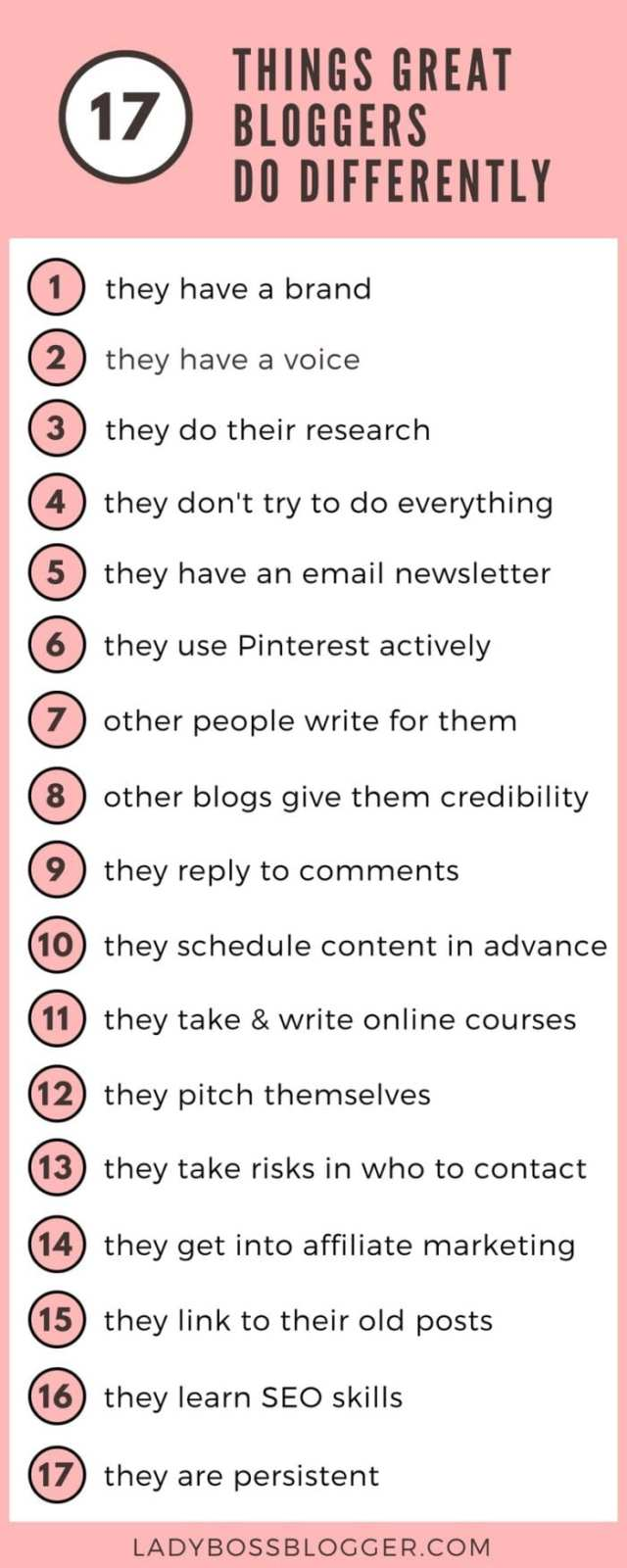 17 things great bloggers do differently on ladybossblogger.com