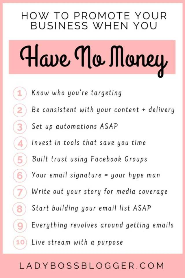 10 Ways To Promote Your Business When You Have No Money by Elaine Rau founder of LadyBossBlogger