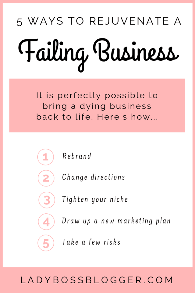 5 Ways To Rejuvenate A Failing Business ladyBossBlogger.com