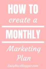 Monthly Marketing Plan