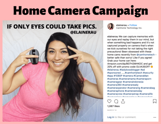Home camera influencer campaign by Elaine Rau