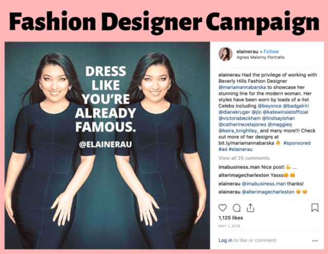 Fashion designer influencer campaign Elaine Rau