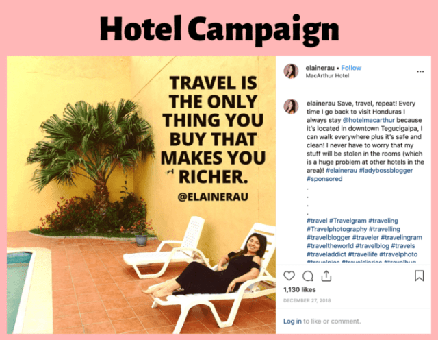 Influencer Campaign Elaine Rau Hotel and travel