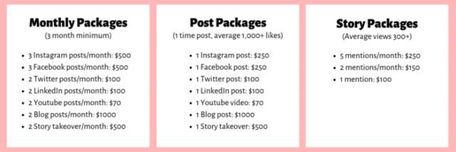instagram pricing elaine rau