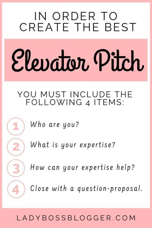 elevator pitch LadyBossBlogger.com