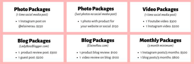 Instagram Pricing for Elaine Rau influencer