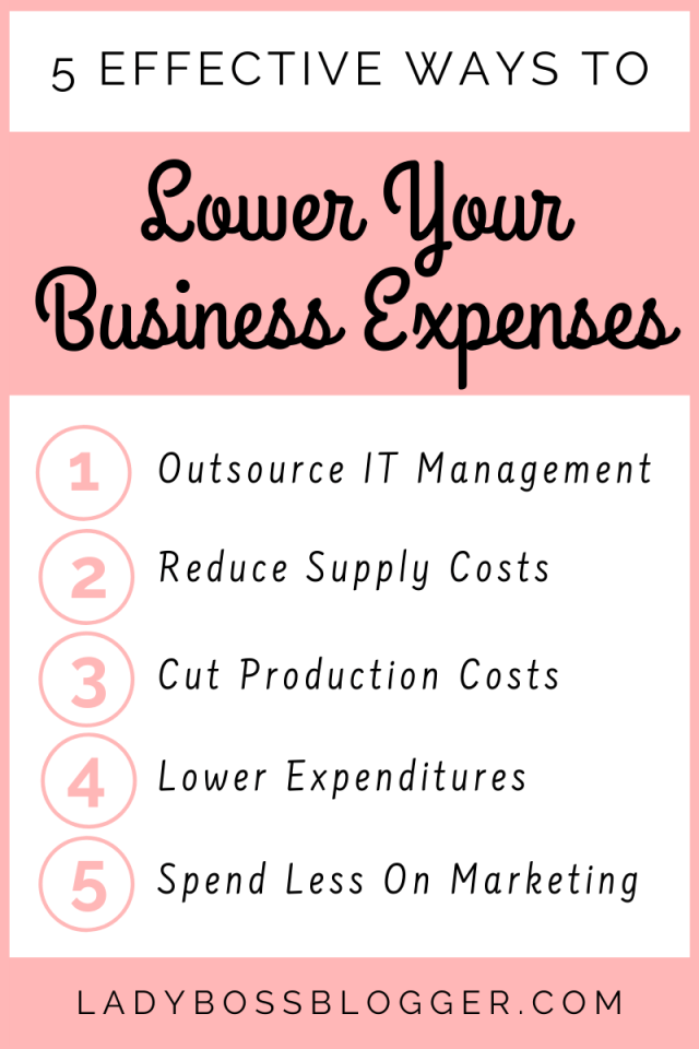 5 Effective Ways To Lower Your Business Expenses LadyBossBlogger.com