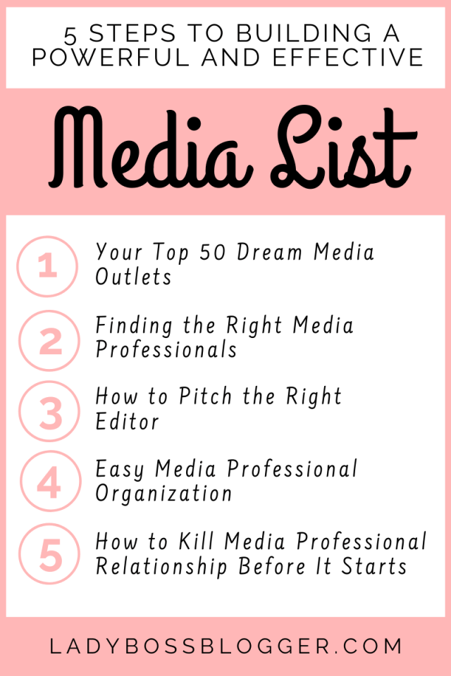 5 Steps to Building a Powerful and Effective Media List that Produces Stellar PR Results LadyBossBlogger.com