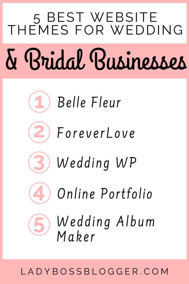 5 Best Website Themes For Wedding And Bridal Businesses ladybossblogger.com (1)