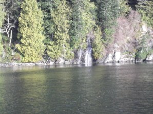 A small water fall to our right. Getting closer to Henderson Lake area!