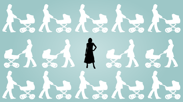 single woman surrounded by women pushing baby strollers