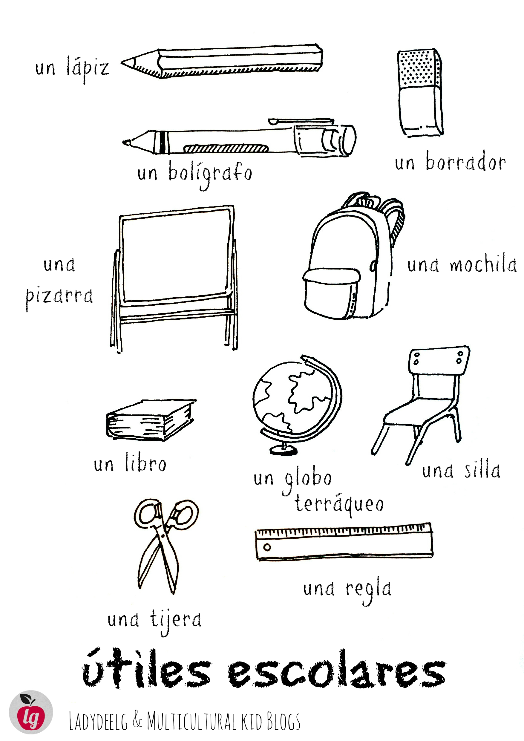 School Supplies In Spanish Free Printables