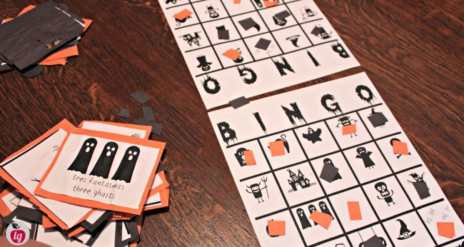 Free Printable Bilingual Halloween Bingo game