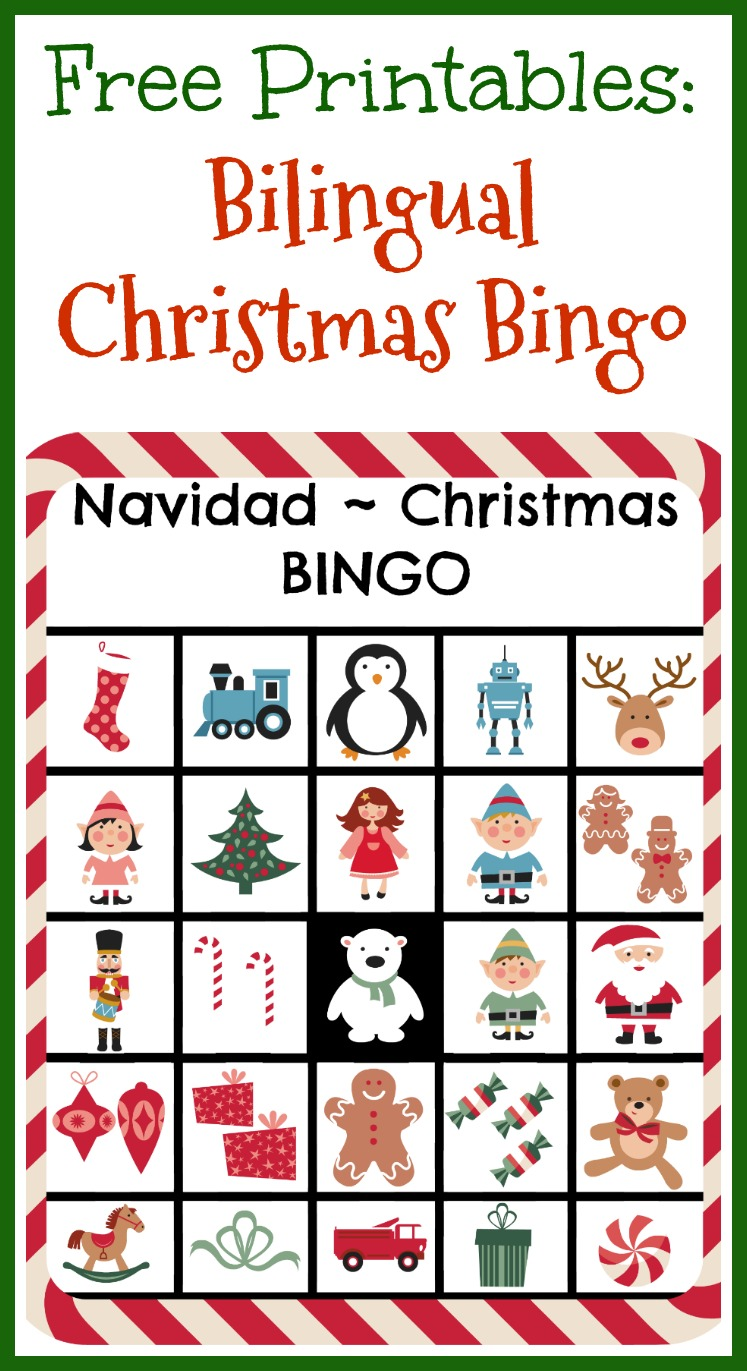 picture relating to Christmas Bingo Free Printable named Free of charge Printables: Bilingual Xmas Bingo - LadydeeLG