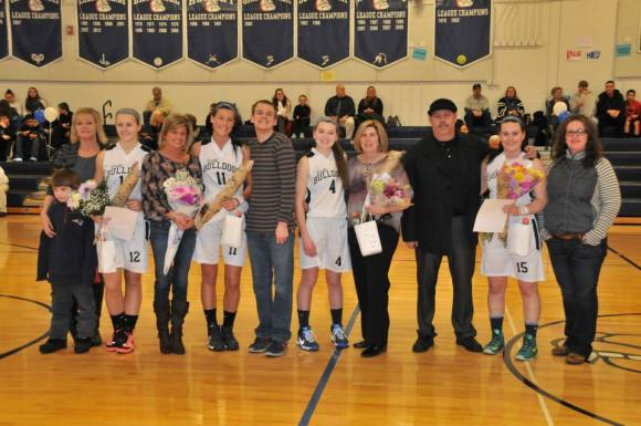 The girls with their families