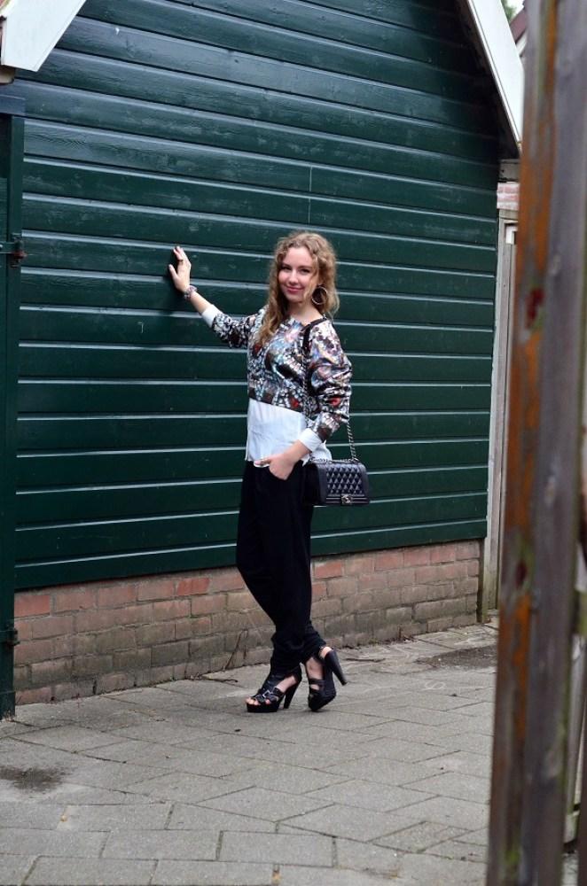 Chanel Bag, joggers, scuba top, heels