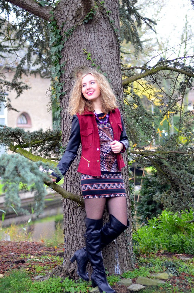 Charissa Goldapple, Ladygoldapple, Over The Knee boots, Bouclé Blazer, Leather Sleeves, Dress