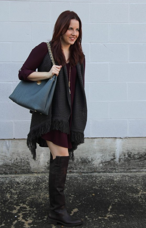 Fall Outfit - OTK boots and Sweater Vests | Lady in Violet