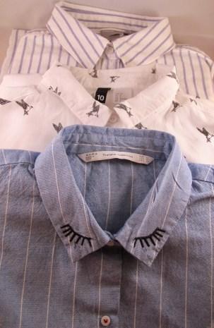 Top - Bottom - Asos Grandad shirt, H&&M Bird print shirt, Zara eyelash shirt