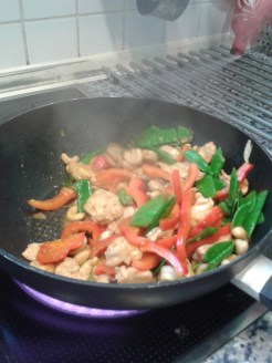 we take turns cooking in the evening, usually anything stir-fried, pasta or chips