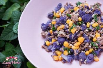 紫花椰菜米牛肉鹹蛋炒飯 低醣減脂食譜 消耗鹹蛋白食譜